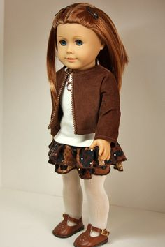 American Girl Doll Clothing-Jacket, Shirt, Ruffled Skirt, and Necklace