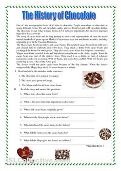 reading worksheets | This is a funny reading about Chocolate. This worksheet can be useful ...
