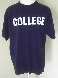 "Mens Size L ""COLLEGE"" Animal House Movie T Shirt, John Belushi, Navy Blue. $5.99"