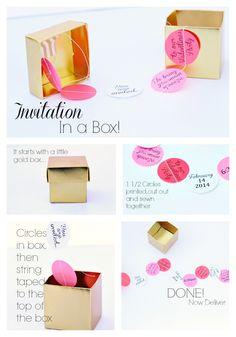 DIY Party Invitation in a box! This is so cute! - www.classyclutter.net