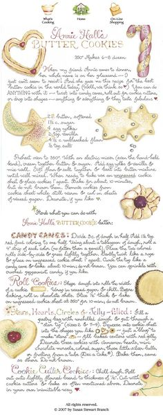 I can vouch for this recipe, this is truly the best recipe for butter cookies and I have used it for years! from Susan Branch Old Recipes, Vintage Recipes, Cookie Recipes, Retro Recipes, Yummy Recipes, Galletas Cookies, Cupcake Cookies, Fancy Cookies, Sweet Cookies