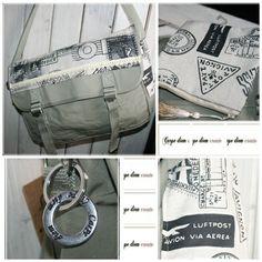 witzige Canvas Umhänge Tasche   oder Post-Bag   in Khaki    vorne auf der Klappe ein  Leinenstoff im Air-post-look  mit aufgenähten Borten -...