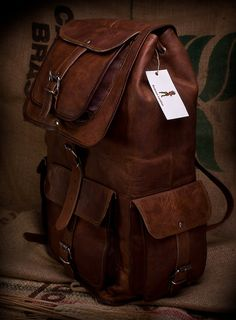 Distressed Leather Backpack 20x10x8(Vintage Distressed Leather) | Raddest Men's Fashion Looks On The Internet: http://www.raddestlooks.org