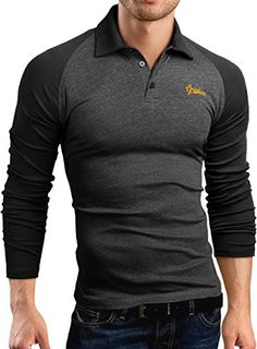 Grin&Bear Herren Slim fit Raglan Polo Shirt Hemd, langarm, anthrazit, S, GB164