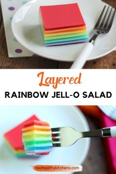 No one will ever guess how much healthier this pretty, Layered Rainbow Jell-O Salad is! It's got a hidden hit of protein … and it's incredibly easy to make! Plus, we've got tips to help you customize… Whole Food Recipes, Snack Recipes, Dessert Recipes, Drink Recipes, Clean Eating Recipes, Eating Healthy, Healthy Food, Tasty, Yummy Food