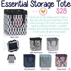 Essential Storage Tote by Thirty-One. Fall/Winter 2015. Click to order. Join my VIP Facebook Page at https://www.facebook.com/groups/1603655576518592/