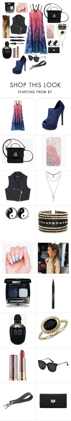 """Light to Dark..."" by natalieengholm ❤ liked on Polyvore featuring WithChic, Schutz, MM6 Maison Margiela, Bebe, Eloquii, Trish McEvoy, Alexander McQueen, Lancôme, Blue Nile and Urban Decay"