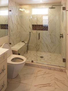 Faux Marble Custom Tile Bathroom Floor and ShowerRedding CA