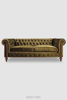 Explorer | ROGER + CHRIS Tufted Sofa, Chesterfield Sofa, Chaise Sofa, Tight Back Sofa, Sleeper Ottoman, Greenhouse Fabrics, Blue Stain, Sofa Colors, Custom Sofa