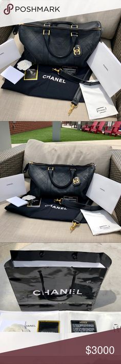 be8bae686a Authentic Chanel XL Boston Lambskin Duffle This is an authentic chanel  Boston bag CL that
