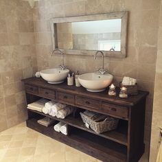Nice piece of furniture used for the bathroom sinks. Bathroom Inspo, Master Bathroom, Bathroom Sinks, Old Dressers, Dream Bathrooms, Repurposed Furniture, Home Projects, New Homes, Interior