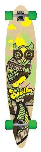 """Stella Owl Pintail Longboard Skateboard Complete by Stella. $99.95. Stella Owl Pintail Longboard Skateboard Stella Classic Pintails are vicious carving machines. Its deck has 8 plies of hand selected 100% Canadian maple veneers for strength and flexibility. Length: 46"""" Width: 9.75"""""""