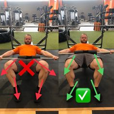 Links zeigen die Füße gerade nach vorne und die Knie gehen sehr weit auseinander. Weitere mögliche Fehler sind, dass die Knie nach innen wandern oder die Füße viel zu breit gestellt werden. Rechts sieht man die optimale Ausführung, die Füße zeigen in die gleiche Richtung wie die Knie (wie bei der Kniebeuge). Die Füße sind dabei Hüftbreit gestellt. Dadurch ist eine optimale Reizsetzung im Popo gewährleistet.