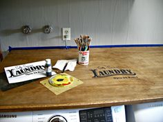 Laundry Room Redo - DIY Laundry Folding Table - Little Vintage Cottage Laundry Folding Tables, Laundry Room Tables, Laundry Shelves, Make A Table, Front Load Washer, Butcher Block Cutting Board, Washer And Dryer, Home Projects, Cottage