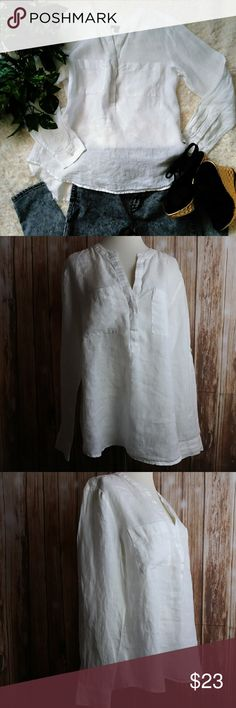 Ann Taylor 100% linen tunic white hi low top Ann Taylor top  size medium  100% linen  tunic style  all white  adjustable sleeve long to 3/4  made in India  machine wash  bust pocket  Slight see through would be able to see bra  Approximate measurements  shoulder to shoulder 16.5  bust 40  hips 45  front length 25  back length 27.5 Ann Taylor Tops Tunics