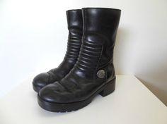 a5c48b4577dfe 90s HARLEY Davidson Black Leather Cyber Punk Platform Biker Boots Size 7  Cyberpunk Fashion