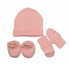 Kit naissance 3 pièces fille rose: Bonnet, chaussons, moufles