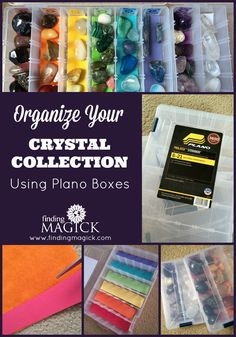 How To Organize Your Crystal Collection Using Plano Boxes - FindingMagick.com - Here's a DIY home storage solution for your crystals and gemstones. These boxes are GREAT! They are compact, stackable and affordable! The Plano stowaway boxes hold a lot of tumbled stones! Organize them according to chakra, shape or the Mohs scale of mineral hardness. How do you store your stones?