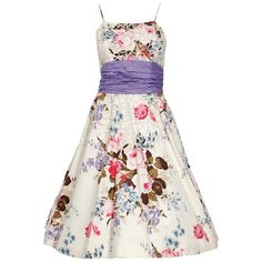 ef993c768f62 1950's Emma Domb Rose Garden Floral Print Sequin Cotton Full-skirt Party  Dress