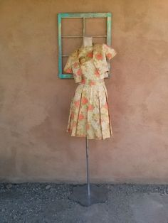 Vintage 1960s Silk Suit Yellow Floral 3 Piece Dress xSmall B32 W23 2015148 - pinned by pin4etsy.com