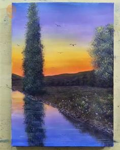 20 Home Decor Painting Inspirations Painting Tutorial Videos Easy Canvas Art, Small Canvas Art, Easy Canvas Painting, Canvas Canvas, Painting Art, Bridge Painting, Knife Painting, Scenery Paintings, Easy Paintings