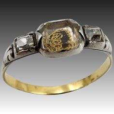 Georgian Stuart Crystal Ring set in Silver & Gold with Diamonds Sea Glass Jewelry, Crystal Jewelry, Pendant Jewelry, Jewelry Art, Diamond Jewelry, Gold Jewelry, Crystal Ring, Royal Jewelry, Jewellery
