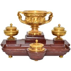 For Sale on 1stdibs - Exceptional gilded bronze inkwel on a griotte marble base. in the taste of Barbedienne.5800eu