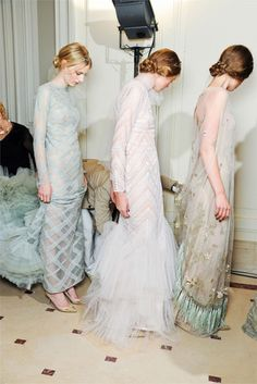 love the pastels though I might cause an uproar wearing something so sheer on my wedding day..bridesmaids?