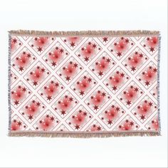 Red Silver Stars Throw Blanket