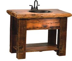 Rustic handcrafted and unique accessories from Rustic Furniture Mall. Featuring Cedar log, reclaimed barn wood, distressed pine, hickory and aspen in a wide variety of styles designed to enhance the rustic décor of your bathroom. Barnwood Vanity, Rustic Vanity, Rustic Bathroom Vanities, Rustic Mirrors, Rustic Bathrooms, Bathroom Furniture, Rustic Furniture, Bathroom Shelves, Mirror Shelves