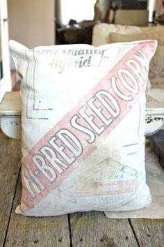 Farmhouse Pillow Vintage Feed Sack Farmhouse Decor by NavarreCharm, $27.00