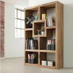 7-Section Wooden Bookcase - Dark-Beige