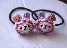 花&木製釦付*紫ニット帽子のウサギヘアゴム2個セット 2x