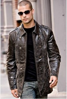 A men's distressed leather jacket in dark brown.  Love the details & it's just plain different.  Would totally borrow it.  $299.