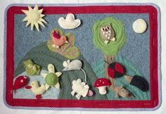 Felt wallpicture with different felt animals ready to play with