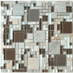 Mocha Brown Unique Shapes Glass and Slate Glossy & Frosted Tile