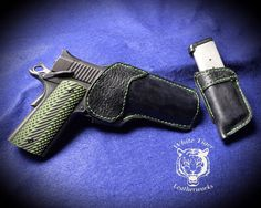 Our Game Warden holster with black shark trim and Zombie Green thread for a 1911