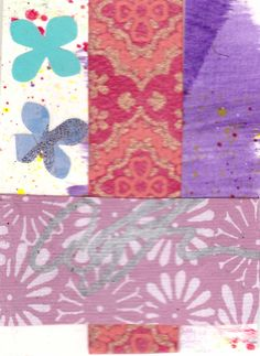 Purple Aceo -- shades of purple dominate this little gem of a collage, with red…