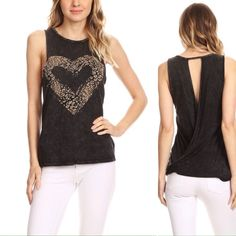 T PARTY Heart Tank is a mineral washed tank top in a relaxed fit, with a round neck, wrapped and open back, and an cheetah printed heart graphic.