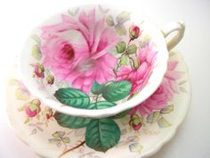 Antique Rare Hammersley Tea cup Set, Signed F. Howard, Hammersley Severn Rose tea cup and saucer, Pink rose on Ivory tea cup.