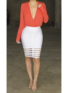 Tangerine Orange 'Drops into a V' Blouse Bandage Skirt, Bodycon Dress, High Street Brands, Trendy Clothes For Women, Rock, Clubwear, Sexy Dresses, Fashion Outfits, Orange