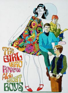 """Illustration by Larry Salk (1936–2004, American), ca 1 9 6 5, Girl in a psychedelic print dress, """"The Girl Who Knew All About Boys""""."""