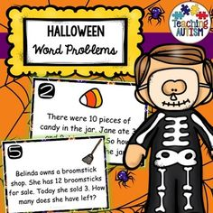 This activity includes 20 different math word problem flashcards. All images and vocabulary are linked to the theme of Halloween. This come with 2 levels of difficulty. Students can either use flashcards 1-10 or 1-20, depending upon which you think is most suitable to your