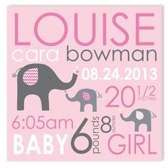 elephant love girl canvas birth announcement featured at babybox.com