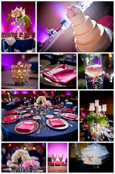 Pink and Navy color palette. Cake by Alpha Delights, flowers by Buds n' Bloom, and decor by Sash and Bow.  http://markhawkinsphoto.com