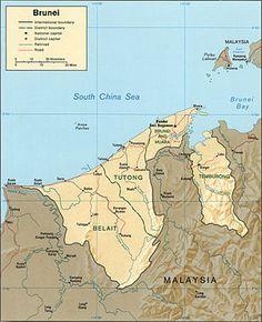 ブルネイの地形と交通網 Topographic map of Brunei CIA 1984 ◆ブルネイの交通 - Wikipedia…