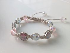 Shamballa Bracelet Young Love iridescent hearts with green, clear, and pink crystal beads by TheBeautyandTheBead on Etsy, $15.00