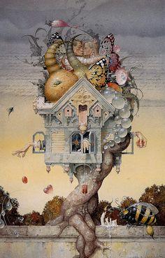 if it were - daniel merriam by Myriac Acia, via Flickr amazing surreal whimsical fantasy , fairyland art collage print the dream house