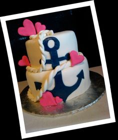 Birthday cake-anchor/nautical theme  for girl. I've been asked to make this one soon.  We shall see how it turns out
