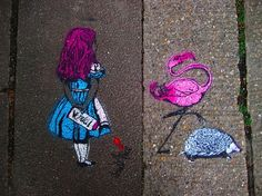 Alice in wonderland street art in primrose hill in photo: simon crubellier Casino Party Decorations, Casino Theme Parties, Party Themes, Casino Night Food, Purple Ombre, Through The Looking Glass, Chalk Art, Alice In Wonderland, Wonderland Events